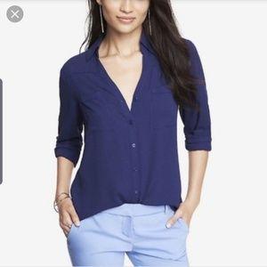 Express portofino navy blue shirt blouse size xs